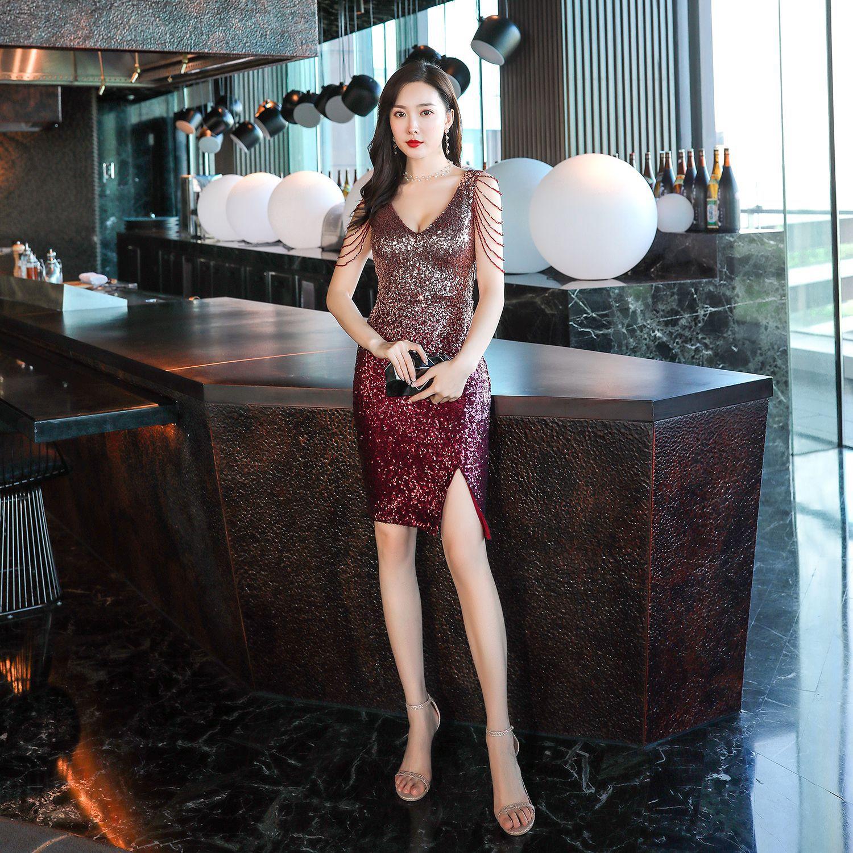Robe De soirée sans manches paillettes femmes robes De soirée fendue fermeture éclair courte Robe De soirée 2019 Sexy Double col en v robes formelles C307