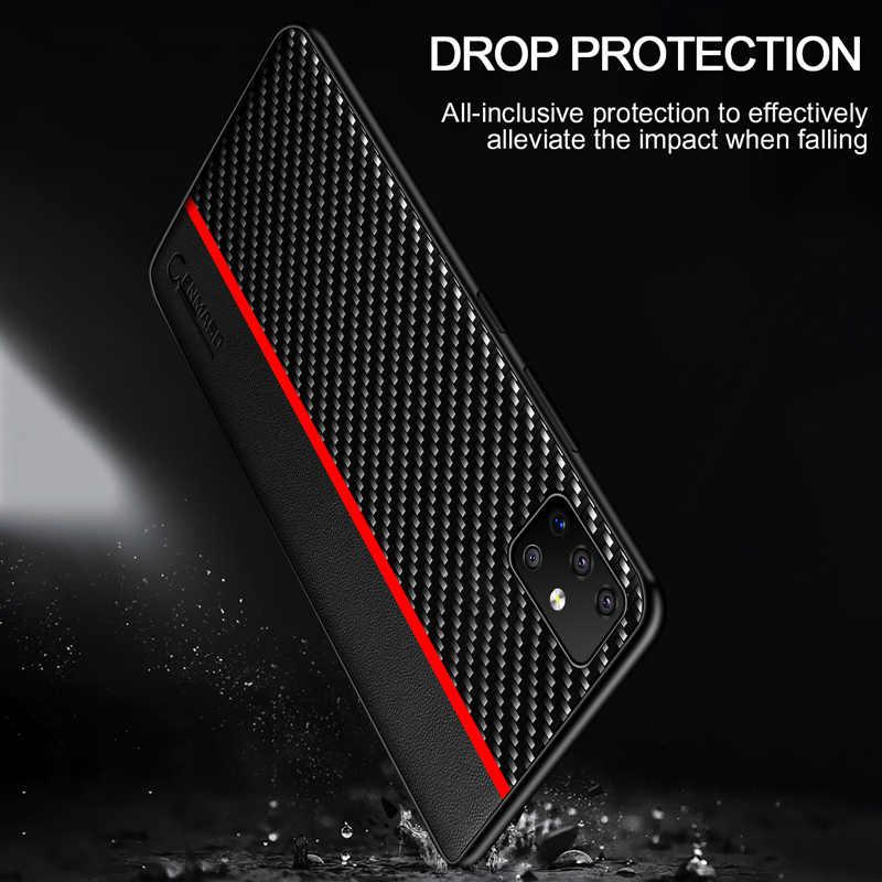 Samsung A51 A50 durumda karbon Fiber deri kılıf Samsung Galaxy A50 A70 A71 S20 Ultra A70 A30 A40 A7 a8 artı A9 2018 kılıf