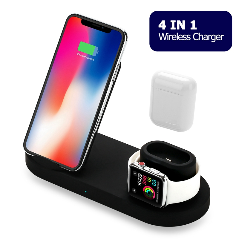 4 In1 10W Qi Wireless Charger Dock Station Fast Charging For IPhone XR XS Max 8 For Apple Watch 2 3 4 USB Output For IPad