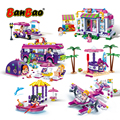 BanBao City street Girls Coffee house Coast Villa Seaside Beach Holiday Building Blocks Models Toys Bricks Children Friend Gifts