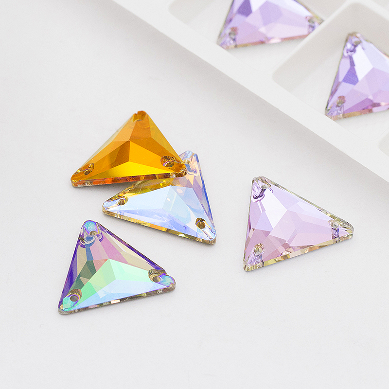 Colorful Gradient Ramp Crystal Glass Rhinestones Silver Plating Sew On Rhinestones For DIY Clothing Crafts Jewelry Accessories in Garment Beads from Home Garden