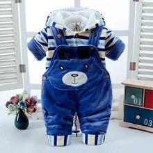 冬のベビーセットの男の子の服新生児厚い暖かい赤ちゃんジャンプスーツオーバーオール 2 個幼児服は服幼児ガール服