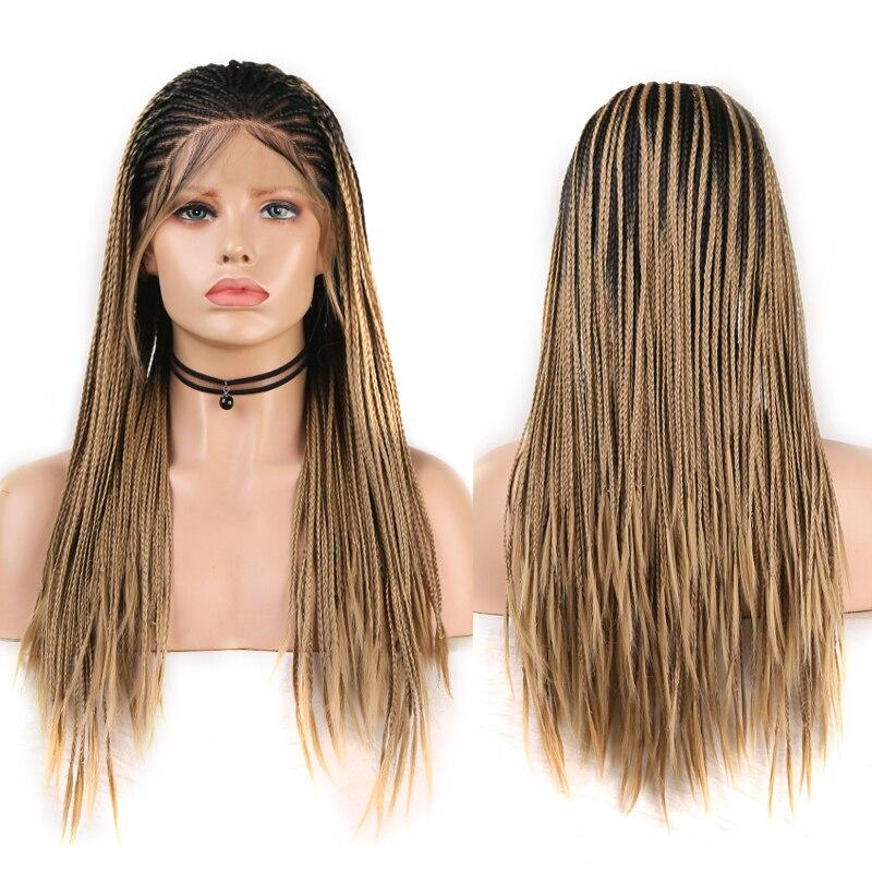 Carisma trançado perucas para as mulheres peruca dianteira do laço sintético com o cabelo do bebê caixa longa tranças perucas ombre cosplay peruca