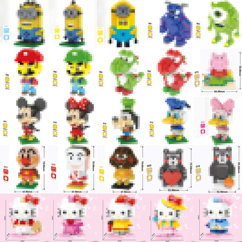 Diamond Building Blocks Mini Cartoon Mario animals mouse duck Bear Dinosaur dog pig Cat Educational Bricks Toys Children No Boxs hc magic diamond building blocks bricks cartoon money pot pikachu anmie build blocks educational toys for boys girls children