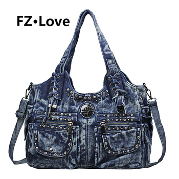 Shiny Rhinestone Ladies Girls Womens Denim Handbag Jean Bag Denim Shoulder Bag Shopper Satchel Messenger Tote Crossbody Bags