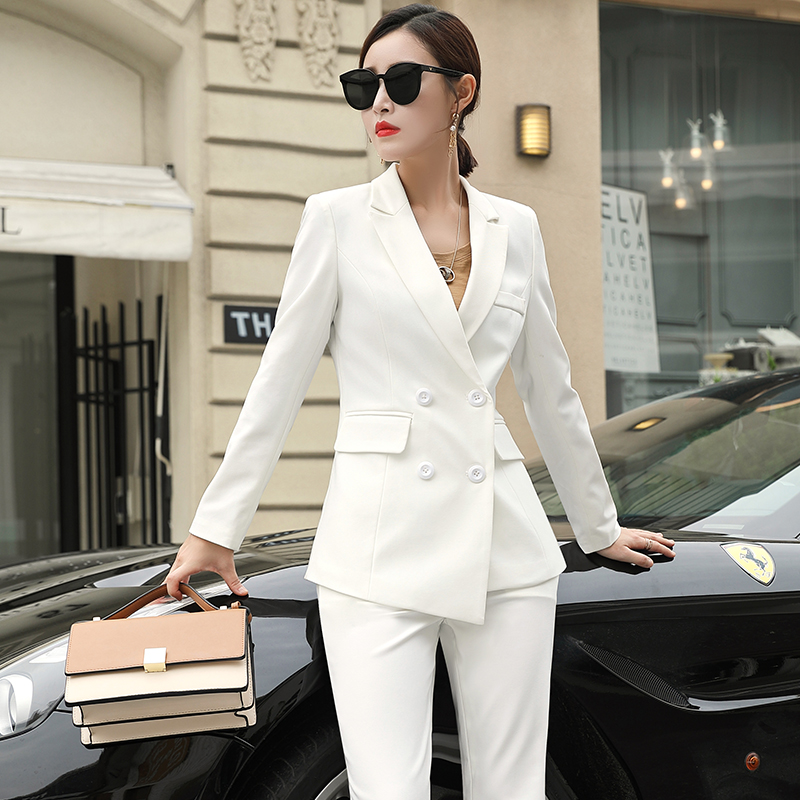 Womens Black White Business Pant Suits for Women Office Ladies Double Breasted Blazer with Wide Leg Pants Women's Work Pantsuit