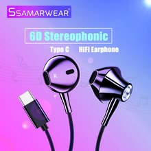 Type C Wired Earphone Bass Control With Microphone In-Ear Sport Headset Usb-c Earbuds For Huawei Xiaomi Mi Mix 2s 8 SE 6X A2