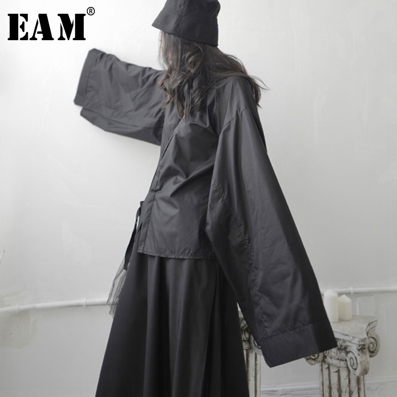 [EAM] Women Black  Split Joint Big Size Blouse New Lapel Long Sleeve Loose Fit Shirt Fashion Tide Spring Autumn 2020 1S745