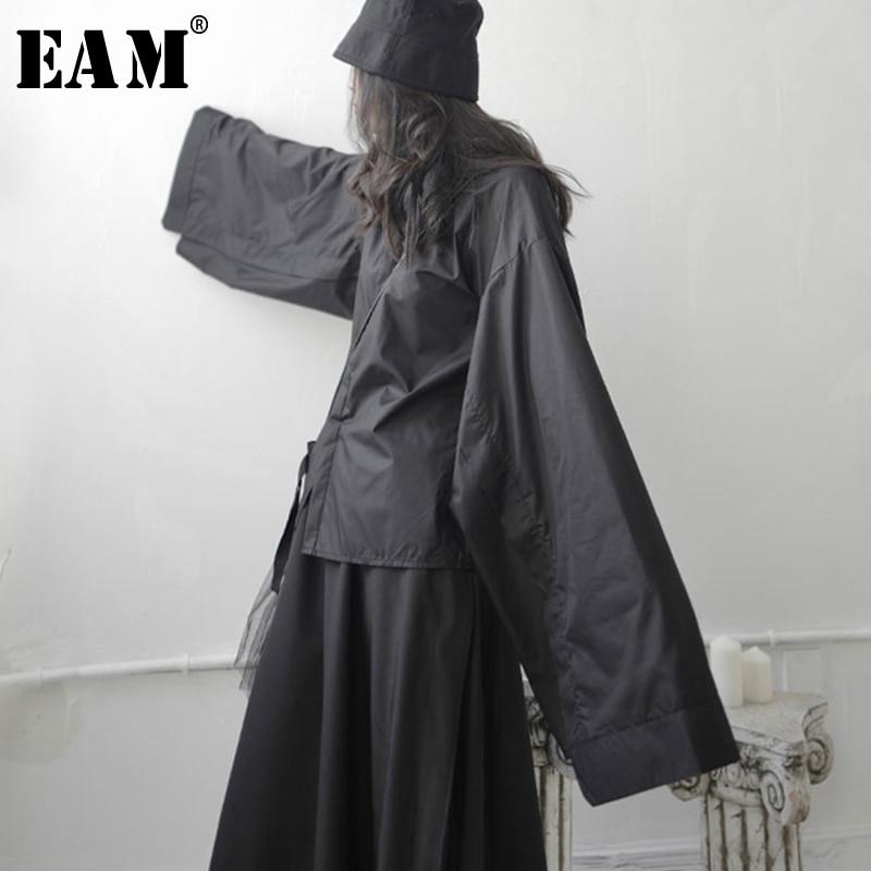 [EAM] Women Black  Split Joint Big Size Blouse New Lapel Long Sleeve Loose Fit Shirt Fashion Tide Spring Autumn 2020 1S745