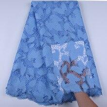 Sky Blue Afrikaanse Kant Stof Geborduurd Nigeriaanse Guipure Koord Kant Voor Wedding Party Dress Stof Hoge Kwaliteit Tulle Lace 1668