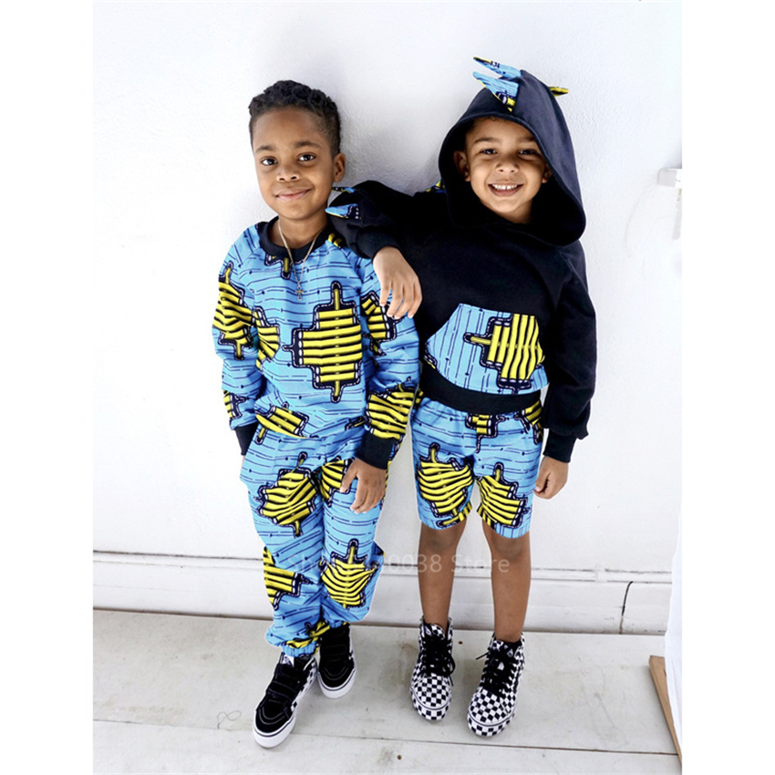 African Clothes Baby Girl Boy 2020 News Dashiki Print Hodded Coat Pants Suit Autumn Full Sleeve African Dresses For Women Kids