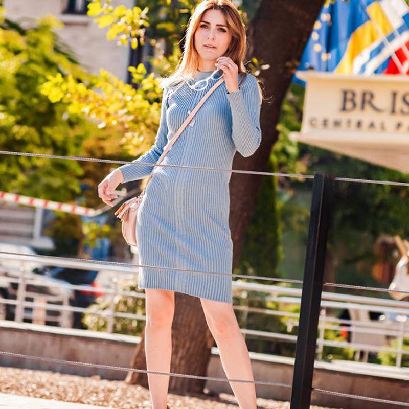 Knee-Length Knitted Autumn Women Dress  1