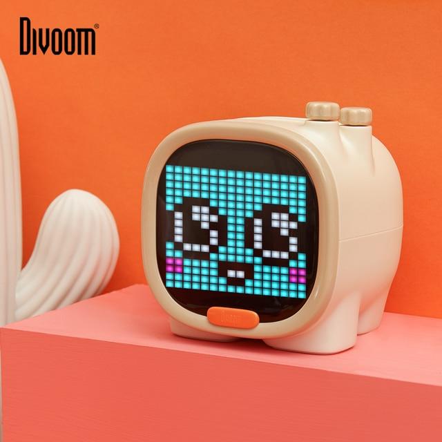 Divoom Timoo פיקסל אמנות Bluetooth רמקול נייד אלחוטי רמקול שעון מעורר חמוד גאדג ט שולחן העבודה קישוט עם LED מסך