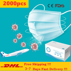 2000pcs DHL Free Shipping Mouth face Mask Disposable Non-Woven 3-layer Filter Unisex Anti-dust Mouth mask