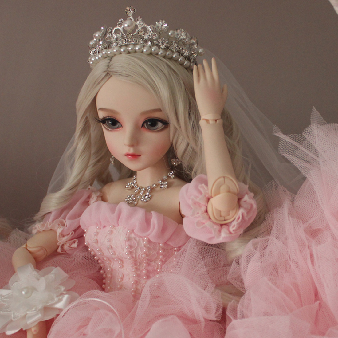 60cm 1/3 BJD Dolls Mechanical Joints Wedding Dress  Set - Pink Full Clothes Crown Shoes Without Doll