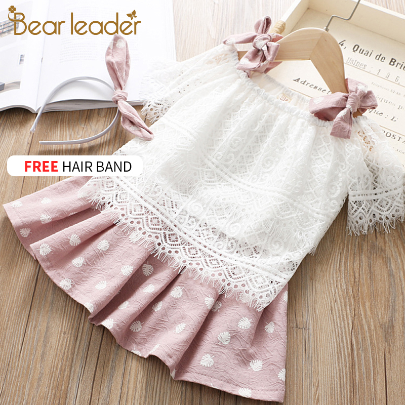 Bear Leader Girls Clothing Sets 2019 Fashion Summer Kids Clothing Sets Lovely T-shirt+Doll Print Dress 2Pcs For Girls Clothes