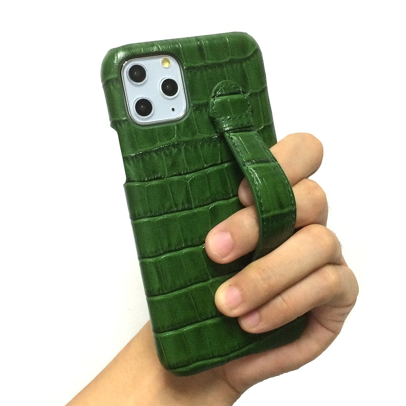 Genuine leather hand strap holder case for iPhone 11 Pro Max ProMax phone cases 2020 hot luxury crocodile thin hard cover Green(China)