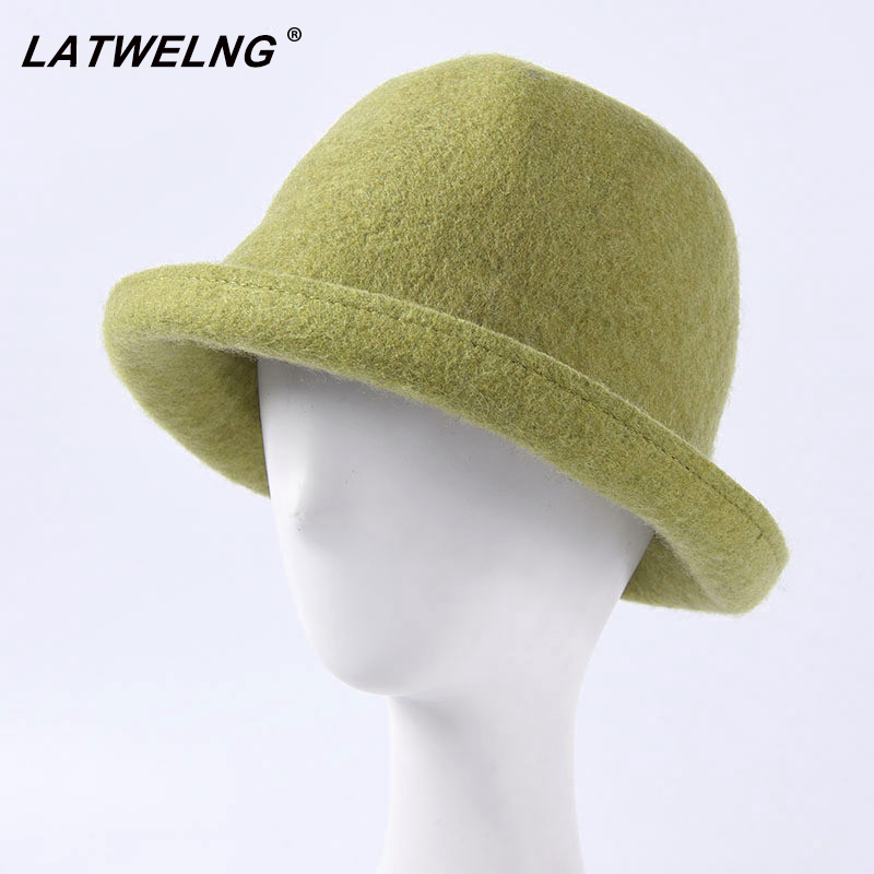 2019 New Couple Bucket Top Hat Japan Soft Wool Fedoras Hat Women Autumn Winter Cap Men Foldable Cap Curling Felt Hat Wholesale in Men 39 s Fedoras from Apparel Accessories