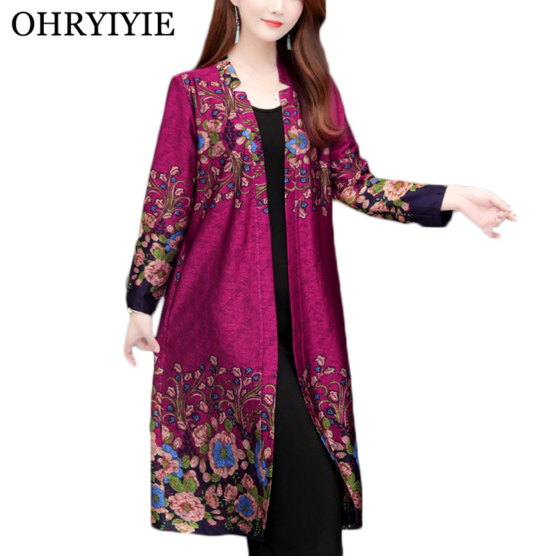 OHRYIYIE  Plus Size 5XL Embroidery Women Cardigan Sweater 2019 Autumn Winter Vintage Floral Print Knit Sweater Female Thick Coat