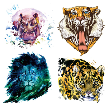 Mini Patch Set West Animal Stickers for Iron Transfer Clothes DIY T-shirt Dresses Washable Heat Transfer image
