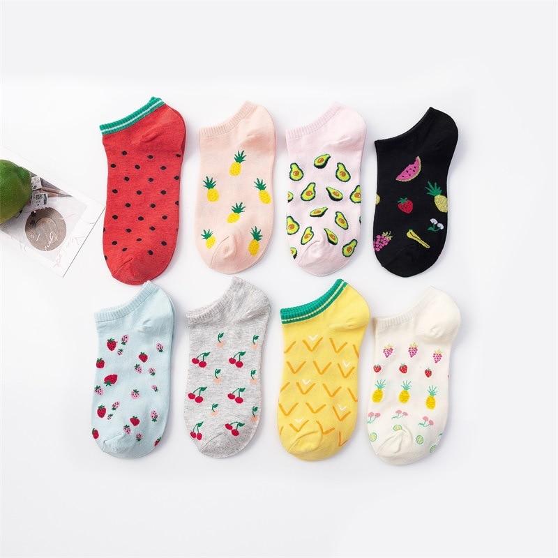 Girls Short Ankle Socks Fruit Printing Cotton Socks Colored Short Sock Female Casual Summer Thin Boat Socks Fashion Hipster