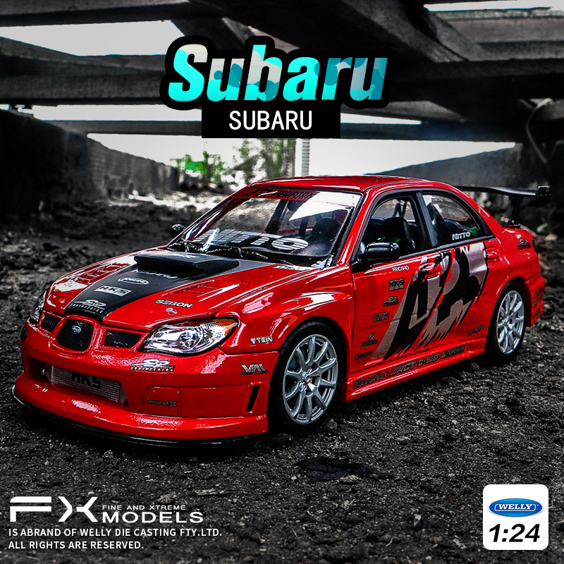 WELLY 1:24   Subaru - Impreza  Alloy Car Model Simulation Car Decoration Collection Gift Toy Die Casting Model Boy Toy