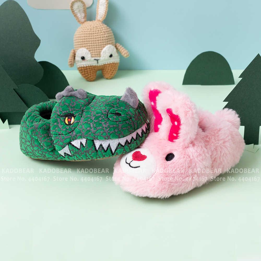 Baby Boy Dinosaur Bont Pluche Indoor Home Platte Slippers Kids Peuter Meisje Cartoon Bunny Winter Schoenen Kinderen Houden Warme Bont slides