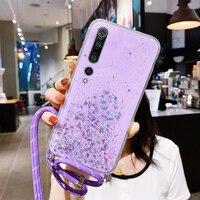 Custodia per telefono in Silicone con cordino glitterato Bling di lusso per Xiaomi Mi 10 9 T Lite Pro Redmi Note 9 8 S2 copertura per corda per collana ultrasottile