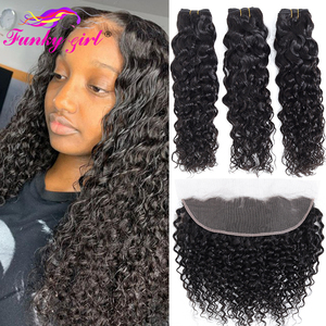 Funky Girl Brazilian Water Wave Human Hair 3/4 Bundles With Lace Frontal Closure With Bundles Ear To Ear Lace Frontal Remy Hair(China)