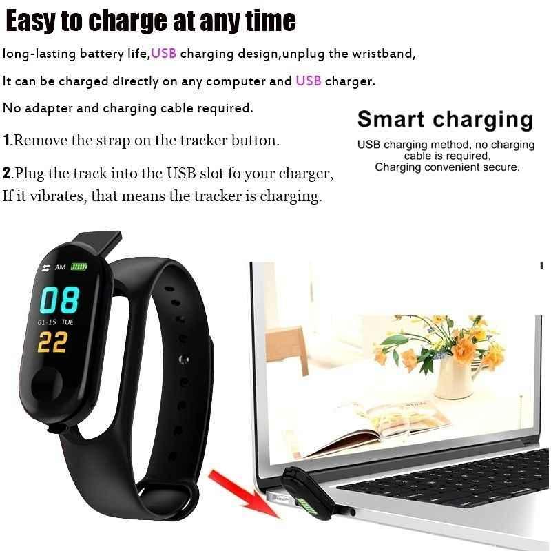 M3 Smartband Spor Izci akıllı bilezik Kan Basıncı nabız monitörü Su Geçirmez Akıllı Bant Pro Bileklik vs Mi Band 3