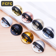 FCFC Stainless Steel Rubber Door Stops Non Punching Sticker Hidden Holders Catch Floor Mounted Nail-free Stop