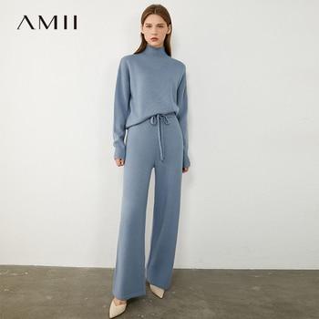 AMII Minimalism Autumn Winter Women Fashion Solid Turtleneck Sweater Elastic Waist Loose Female Pants 12040358