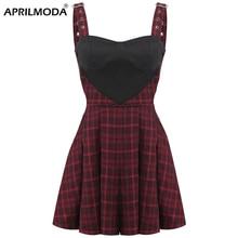 Robe d'été gothique plissée à carreaux, noir et rouge, Streetwear, dos nu, Punk, Rock, robe Sexy pour femmes, fête, Mini, été