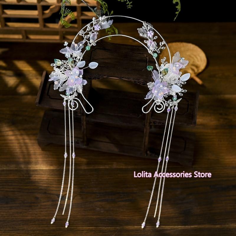 Hanfu Costume Headdress Tassel Step shake KC Hair band Super Fairy Flower Head Crown Virgin Halo Ancient style Hair Ornament