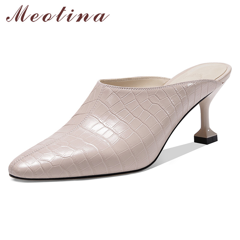 Meotina High Heels Women Pumps Natiral Genuine Leather Thin High Heel Mules Shoes Real Leather Pointed Toe Shoes Lady Size 33-39