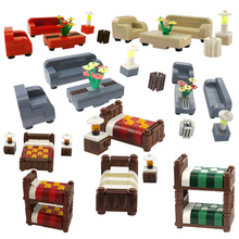 Creator City Sofa Coffee Table Bed Bunk Beds TV Cabinet Building Blocks Educational Toys Gift Cities Model Accessories Toy Sets