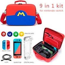 Seyahat çantası Nintendo anahtarı Nintendo anahtarı oyun oyuncu için taşıma çantası Joy con konsol anahtarı Pro kolu + temperli cam
