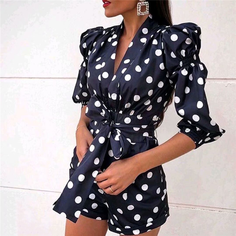 Women Navy Blue Stylish Polka Dot Playsuits V Neck Bow Tie Sashes Pockets Back Zipper Female Casual Jumpsuits Mujer