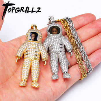 TOPGRILLZ Custom Made Photo Astronauts Necklace & Pendant with Tennis Chain Gold Silver Color Cubic Zircon Men's Hip hop Jewelry american cartoon emojis hold guns personality pendant set with zircon hip hop double color necklace accessories