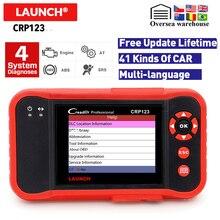 Launch Creader CRP123 OBD2 أداة تشخيص السيارات تحديث مجاني X431 crp123 ABS/SRS/علبة التروس/محرك كريدر crp 123 OBD قارئ المبرمج
