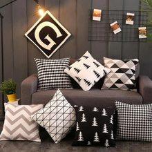 Europeu e americano moda preto branco fronha simples sala de estar travesseiro decoração reunindo sofá almofada