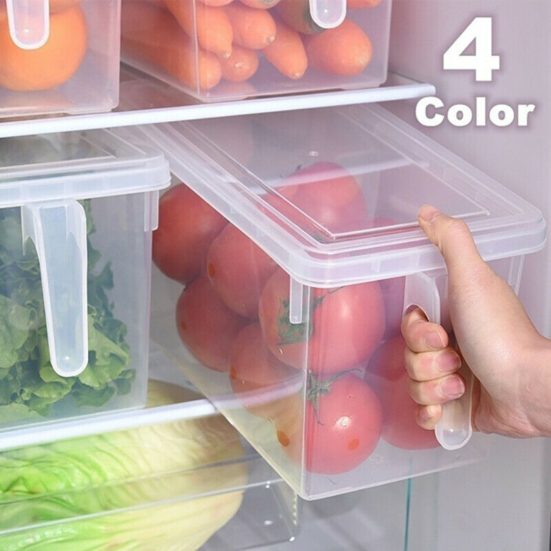 Food Storage Containers Freezer Refrigerator Storage Box With Handle Multi-color 4 Colors