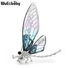 Wuli & baby прозрачные броши в виде стрекозы для женщин большая
