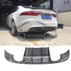 Fibra de carbono para difusor de parachoques trasero alerón de la barbilla para Jaguar XF XFL 2016-UP escape doble dos salidas
