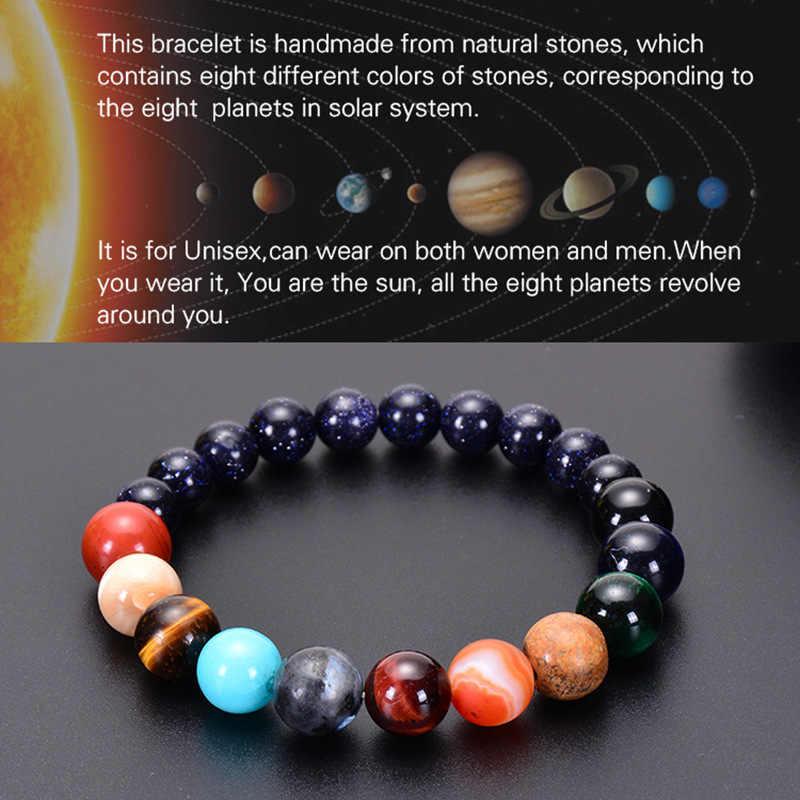 ใหม่ 8 ดาวเคราะห์สร้อยข้อมือลูกปัดธรรมชาติหินจักรวาลโยคะ Chakra พลังงานแสงอาทิตย์สร้อยข้อมือผู้หญิงมิตรภาพคู่เครื่องประดับ Boho