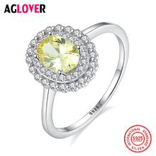 AGLOVER Luxury Zircon Ring For Women's Wedding 925 Sterling Silver Oval Ring Free Gift for Wife and Couple Free Shipping