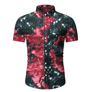 Allthemen Men's Fashion Short Sleeve Shirt Summer Hawaiian Print Turn Down Collar  Shirt Men Casual Masculine Button Up Shirt turn down collar covered button spliced design long sleeve shirt for men