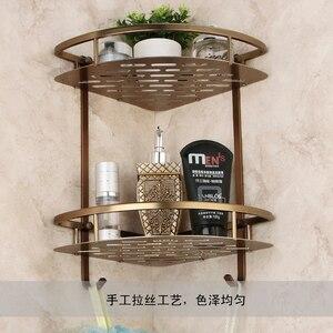 Image 2 - Mensola triangolare per doccia triangolare a due strati con cestello da bagno in bronzo antico, accessori da bagno in stile europeo in alluminio