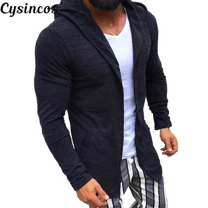 CYSINCOS  Men Long Cardigan Open Front Draped Hooded Sweater with Pocket Midi Sweaters Coat Pocket Winter and Autumn Homme Hiver