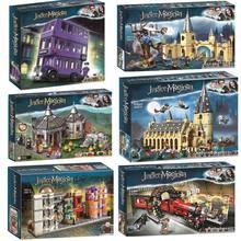 MOC sihirli kale gökyüzü büyük Legoinglys salonu Quidditch maç Express Buckbeak kurtarma Hedwig yapı taşları tuğla oyuncaklar